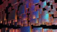 Iridescent wall blocks in raindrops