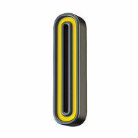 Yellow black outlined font Letter I 3D