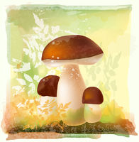 group of ceps in the forest. Watercolor style.