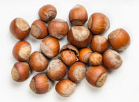 top view of pile of shelled and whole hazelnuts