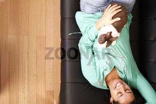 Brazilian girl with a Rabbit