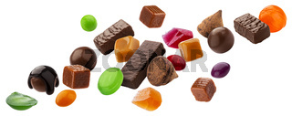 Various jelly candies, caramels, lollipops isolated on white background with clipping path
