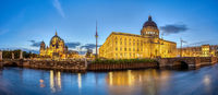 Panorama of the Berlin Cathedral, the TV Tower and the reconstructed City Palace at dawn