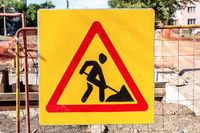 Road works traffic sign at the city street