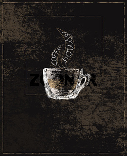 Illustration of Transparent Cup Full of Coffee and the text Coffee House in Steam