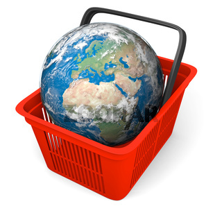 Illustration of Earth in red plastic shopping basket. Texture of the Earth surface