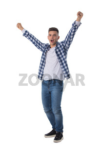 Portrait of man with arms raised