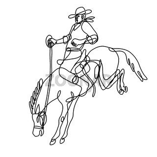 Rodeo Cowboy Riding Bucking Bronco Side View Continuous Line Drawing