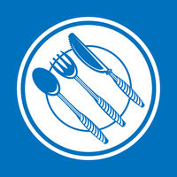 Food Icon for Cafe. Fork Spoon Knife Logo Design Isolated on Blue Background