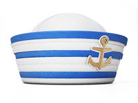 Striped white and blue sailor hat isolated on white background. 3D illustration