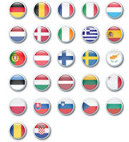 glossy buttons of the countries of the european union