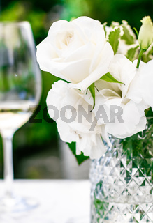 Wedding decoration, table decor and floral beauty, bouquet of white roses in luxury restaurant, beautiful flowers from summer garden