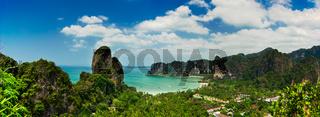 Tropical beach landscape panorama. Thailand