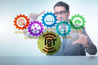 Businessman pressing virtual button in IoT concept