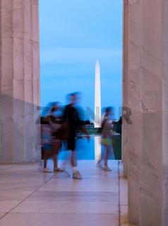 Washington monument reflecting from Jefferson