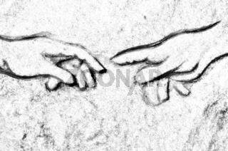 Michelangelos Erschaffung Adams  in Stein