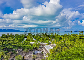 Amazing Koh Samui island beach and landscape panorama in Thailand.
