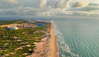 Drone point of view sandy beach and Mediterranean sea. Spain