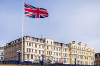 EASTBOURNE, EAST SUSSEX, UK - MAY 3 : View of the Cumberland Hotel in Eastbourne on May 3, 2021