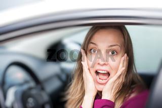 Female driver shocked