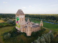 Almere castle unfnished ruin of a unfinished castle in a forrest in The Netherlands, Europe.