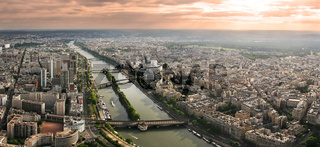 Aerial panoramic view of Paris and Seine river.