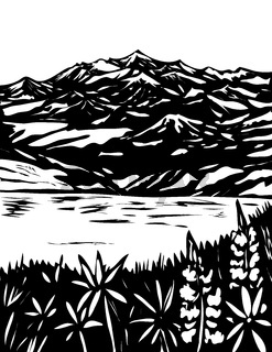 Wrangell and St Elias National Park in South Central Alaska USA WPA Black and White Art