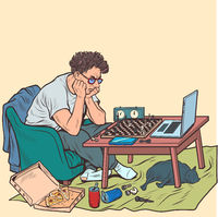 A man plays online chess with a virtual opponent