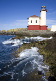 Ocean Waves Splash Coquille River Lighthouse
