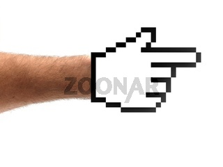A hand shaped with a computer hand isolated against a white background