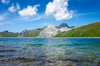 Maroly lake and Mountain landscape in The Grand-Bornand, France
