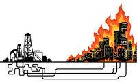 City Oil Fire Cartoon