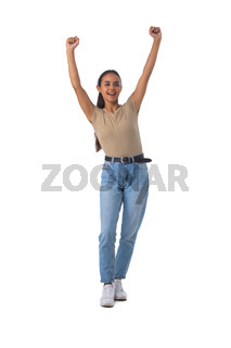 Casual girl standing with arms raised
