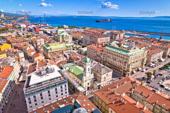 Rijeka city center and main square aerial view