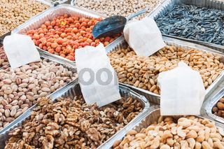 Market stand selling variety of dried fruit