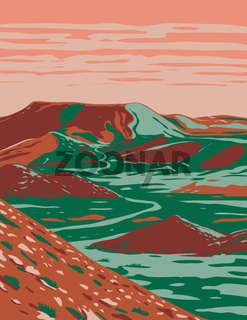 Alibates Flint Quarries National Monument Showing Red Bluffs Canyon Rims and Mesas near Fritch Texas WPA Poster Art