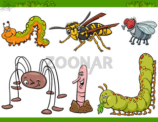 funny insects characters set cartoon illustration