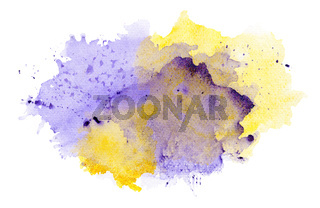 Abstract Purple And Yellow Watercolor Splash
