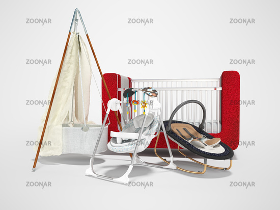 3D rendering of baby bed swing for sleeping child on gray background with shadow