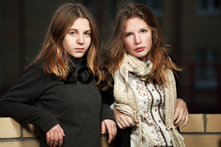Young girls on a night city street