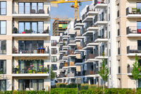Modern housing area with new apartment buildings seen in Berlin, Germany