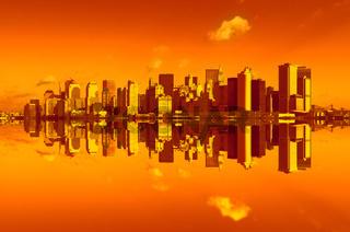 panorama of manhattan in sunset light, new york