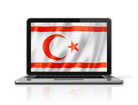 Northern Cyprus flag on laptop screen isolated on white. 3D illustration