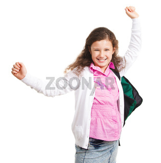 Smiling schoolgirl with backpack