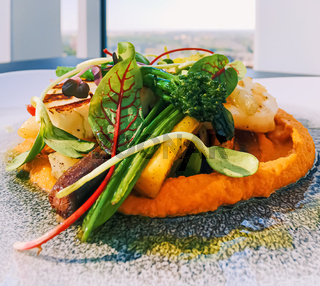 Healthy recipe, organic food and vegetarian salad menu in luxury restaurant, warm vegetables with cheese, greens and herbs served on plate