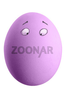 Large picture of an colored easter egg with drawn eyes on a white background.