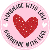 red and pink round HANDMADE WITH LOVE sticker