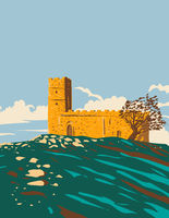 St Michael De Rupe Brentor Church in Dartmoor National Park Devon England United Kingdom UK Art Deco WPA Poster Art