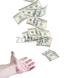 The hand want to catch falling money