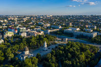 Aerial view of Cathedral Park and Government House in the center of Chisinau, capital of Moldova, at sunset